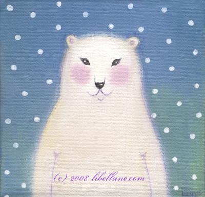 L'ours blanc sous la neige, par Lune