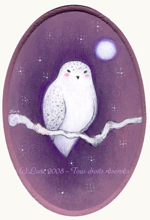 Chouette Blanche sur ciel prune par Lune